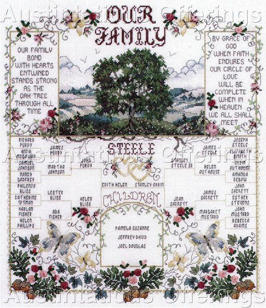 Stoney creek our family cross stitch sampler kit silk