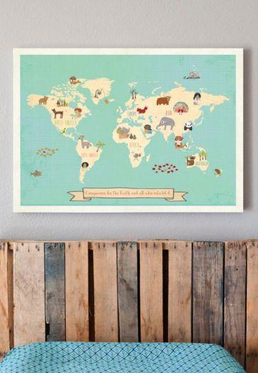 Kleurrijke wereldkaart - Kinderkamer in Stijl