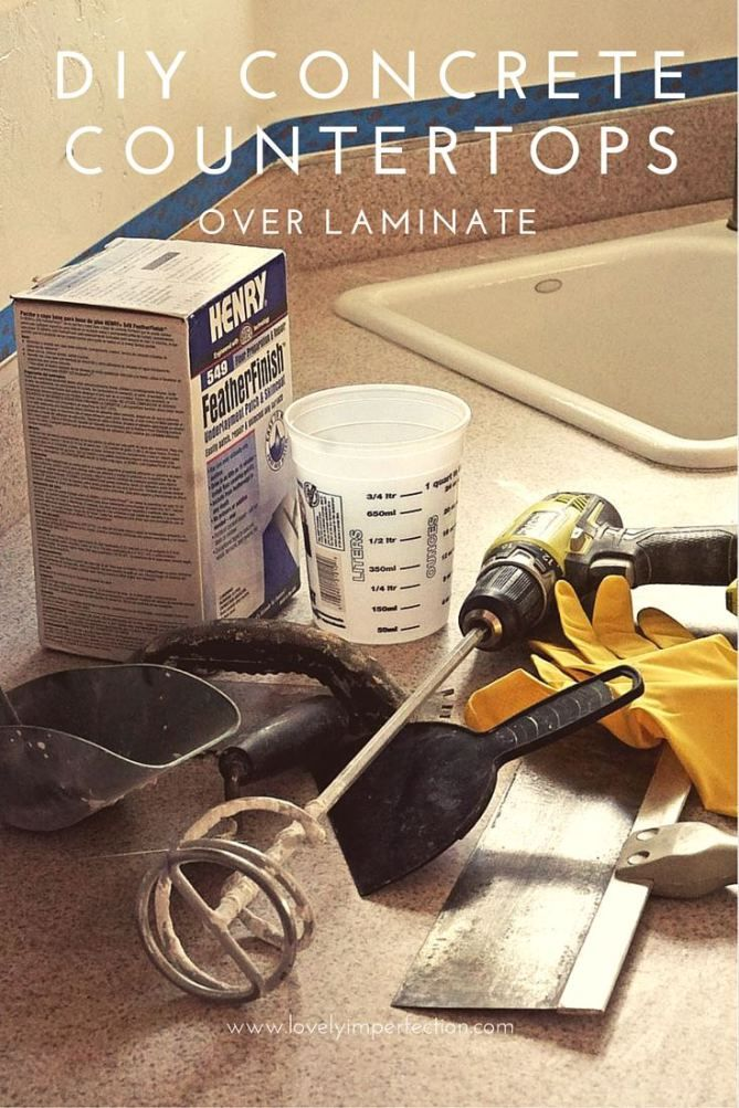 Tired of your old laminate counters? This tutorial shares how to DIY concrete countertops over your existing laminate counters for an easy, frugal weekend project using Ardex or Henry's Feather Finish concrete skim coat.
