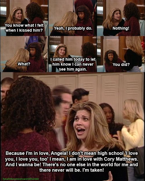 One of my favorite moments. Cory + Topanga= Childhood OTP