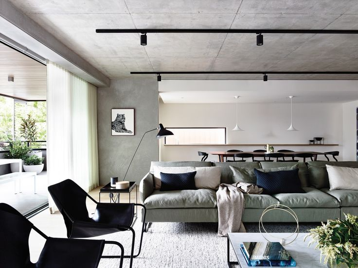 Neometro | MAA | Carr Design | Walsh Street Apartment; collaboration, concrete ceiling, black track lighting