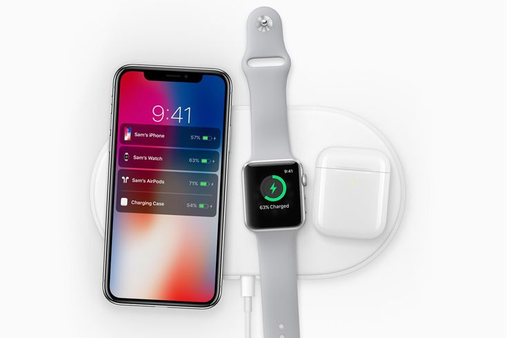 """Apple """"AirPower"""" is finally here! ; ) • after Samsung! • wireless induction charging  - announced at Keynote 2017-911, out ?, $? • compatible: only iPhone X /8 / 8+ / all Apple Watches! ; ) / AirPod 2 / NO MacBook or iPads • Qi-compliant std (fast charging 15w) i.e.  Belkin Boost Up $60 + Mophie Wireless Base • 1st inductive phone: 2012-09-05 Nokia Lumia 820+920 / 2012-10 Google LG Nexus 4 / 2012-11-21 HTC Droid DNA / 2014-04-14 Sam S7 https://en.wikipedia.org/wiki/Inductive_charging"""