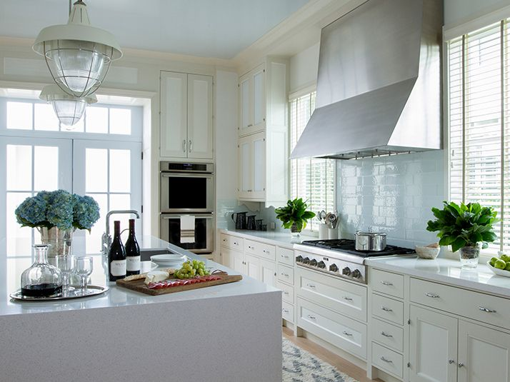 Coastal Kitchen Features Cream Cabinets Accented With