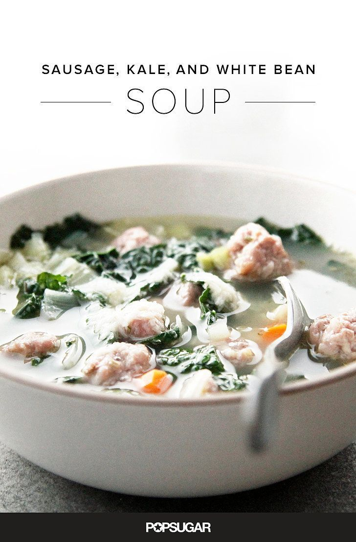 Warm yourself up with this healthy sausage, white bean, and kale soup that's perfect for chilly Fall evenings.
