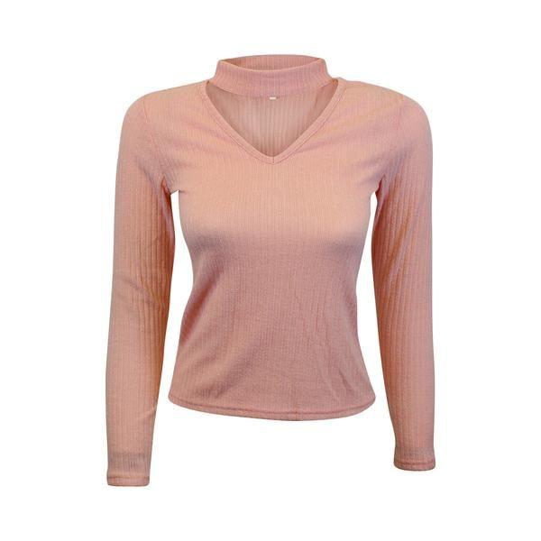 Light Pink Knit Choker Sweater (Female) // Zargara