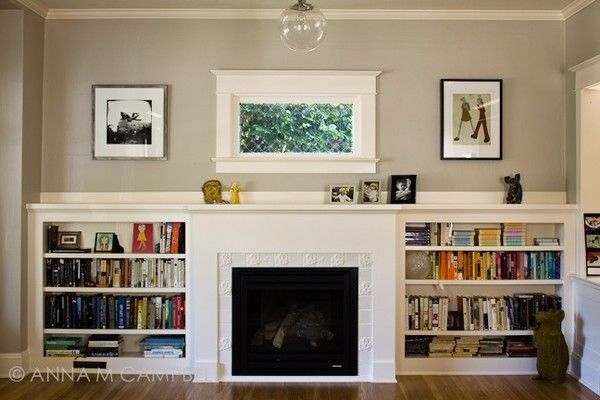 gas fireplace, w/built ins