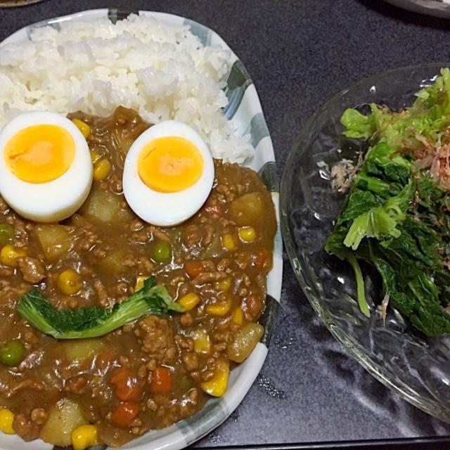 ヤッター!茹で玉子がのってるーー! #夕飯 - 12件のもぐもぐ - 顔カレー(フライパンで作ったカレー)、かき菜。 by ms903