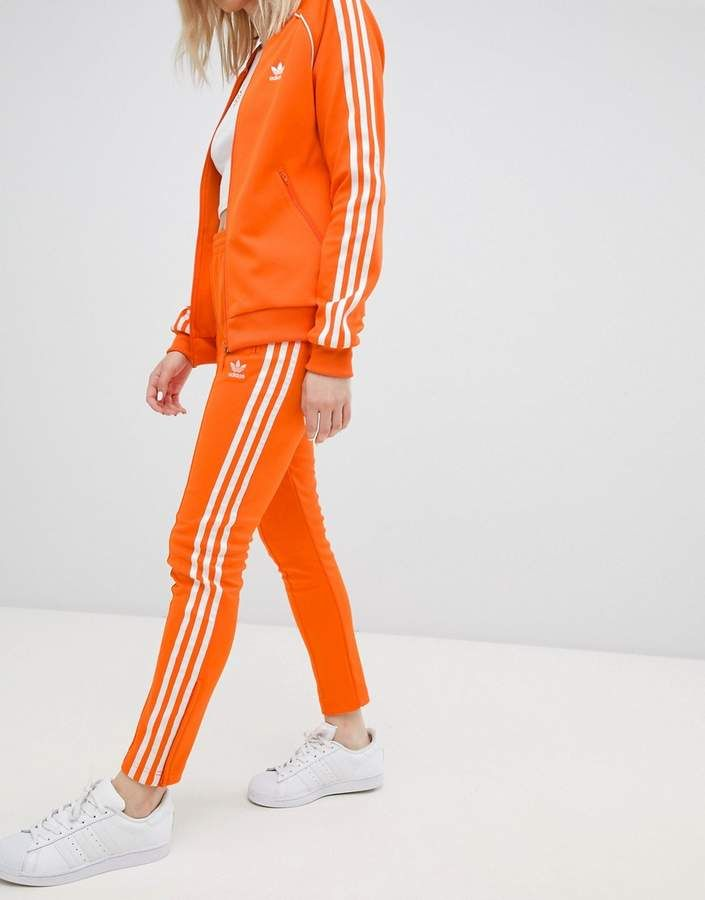 038c6d1b944 adidas Originals Adidas Originals Three Stripe Cigarette Pants In Orange
