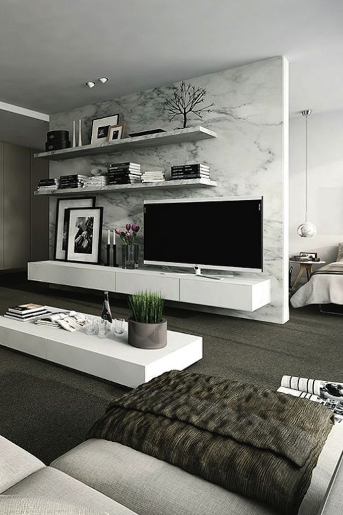 Дизайн гостиной, стена с ТВ