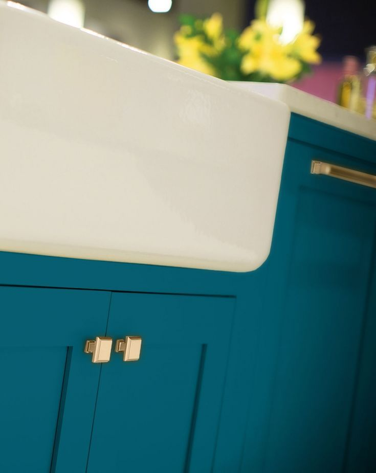 """Dura Supreme Kitchen Island Cabinetry with an """"Oceanside"""" Personal Paint Finish"""