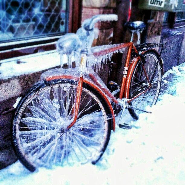 Frozen bike in Stockholm