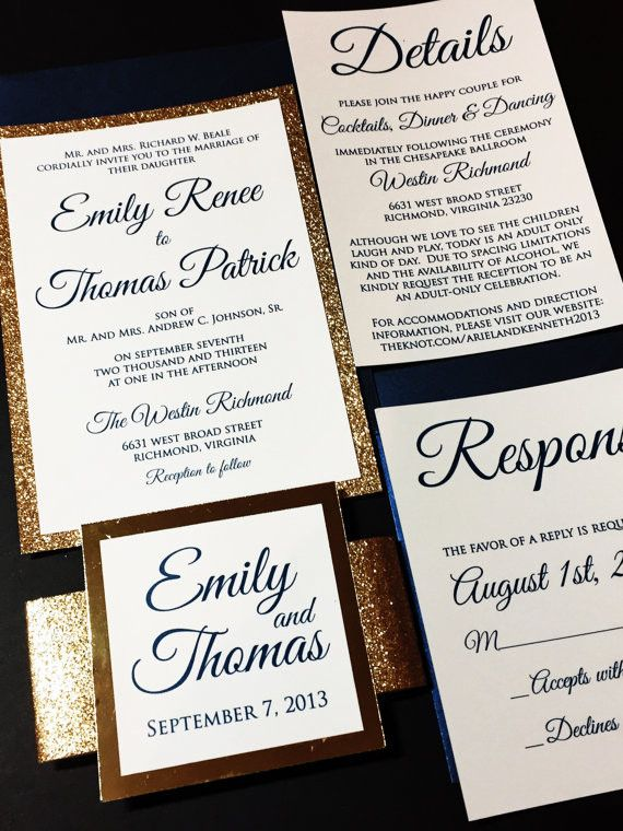 18 best rustic wedding invitations images on pinterest invitation navy and gold glitter wedding invitation luxury wedding invitation emily version stopboris Choice Image