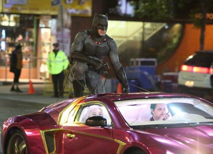 """Ben Affleck (as Batman) prepares to film a stunt for his cameo appearance in """"Suicide Squad"""", 2016."""