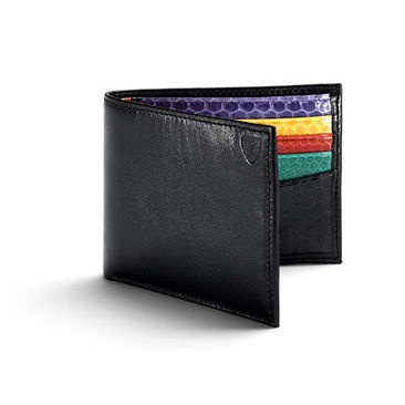 Snakeskin Billfold Wallet in Smooth Black with Rainbow Snake - Luxury Leather Wallets, Leather Handbags, Cufflinks - British Luxury Leather Goods from Aspinal of London