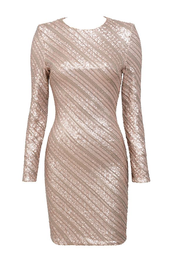Clothing : Bodycon Dresses : 'Keisza' Rose Gold Sequinned Bodycon Dress