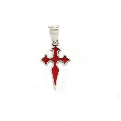 Saint James Pilgrim Cross, made in silver and enamel following traditional methods. Crafts from Camino de Santiagi.