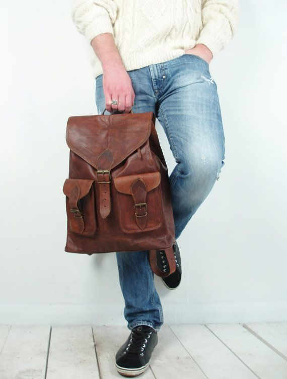 Vintage brown leather rucksack / backpack A4 by VintageChildShop