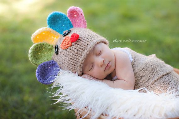 Ready to Ship Newborn Photo Prop Turkey Hat by MySweetKnittings, $30.00