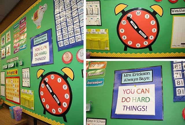 "Math/Calendar Wall: Clock (love!) and ""Teacher Awayways Says . . ."" - need to make these"