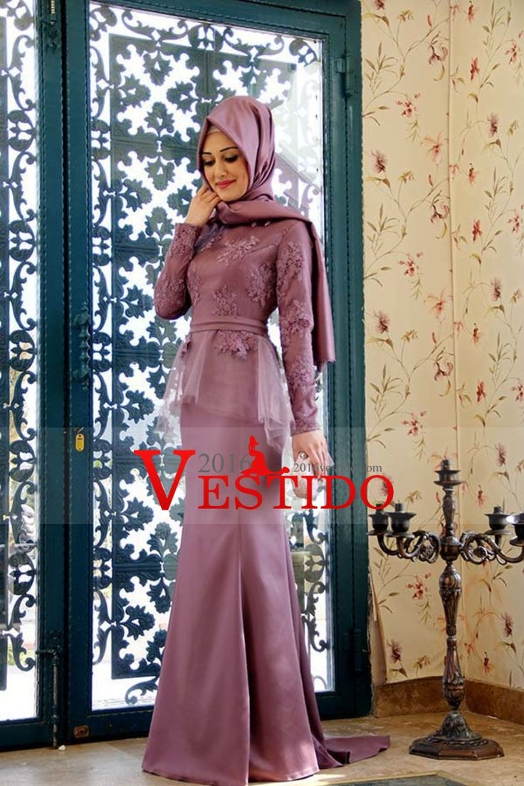 2016 de la cucharada de la sirena / trompeta musulmanes vestidos de baile de promoción con apliques