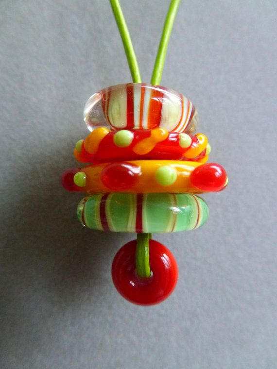 Juicy Citrus Discs Stacker L38 Necklace by katarinasuzabella, $25.00