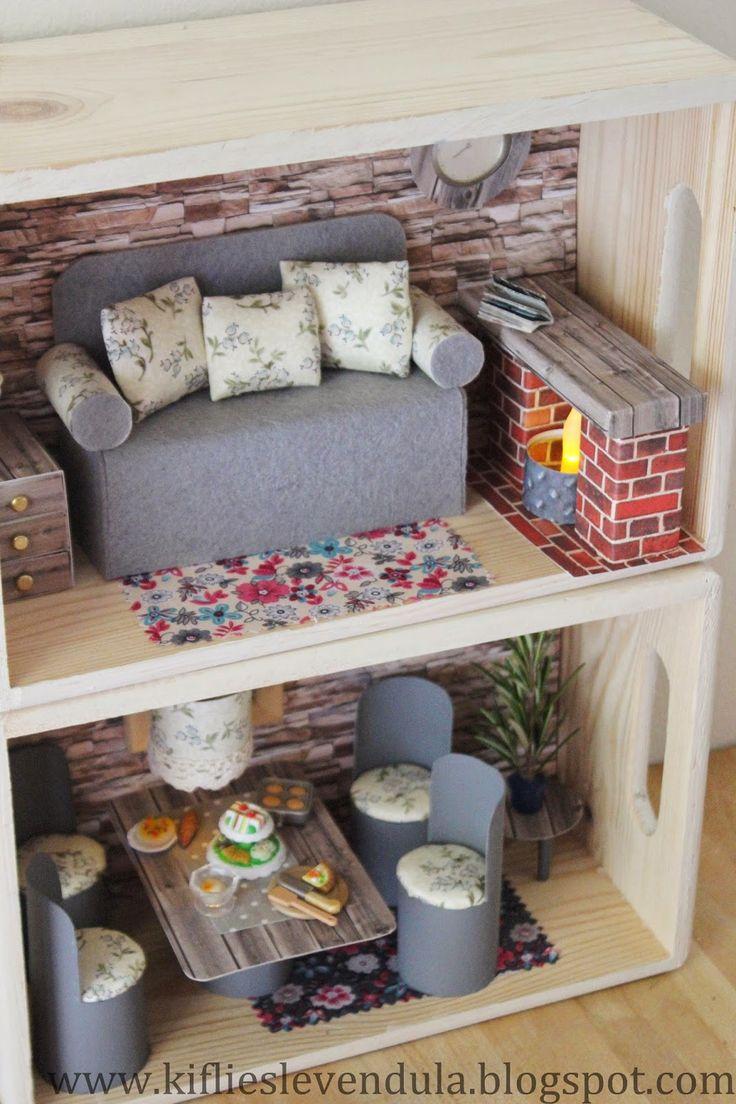 dollhouse furniture cheap. Kifli és Levendula: Cheap Doll Furniture From Reuse Things Dollhouse