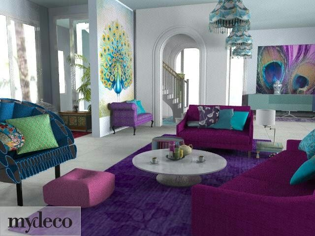 Peacock colored living room decor for the home for Teal and purple living room