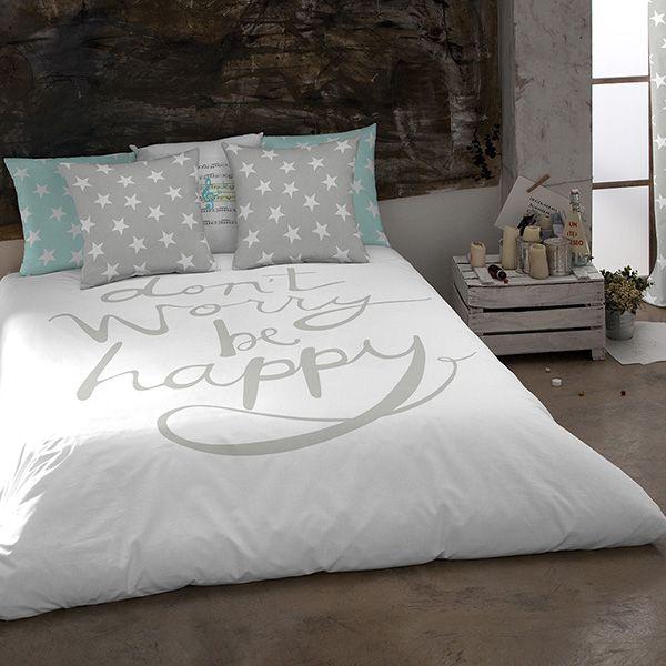 Cama 90cm funda n rdica happy gris dormitorios - Funda nordica gris ...