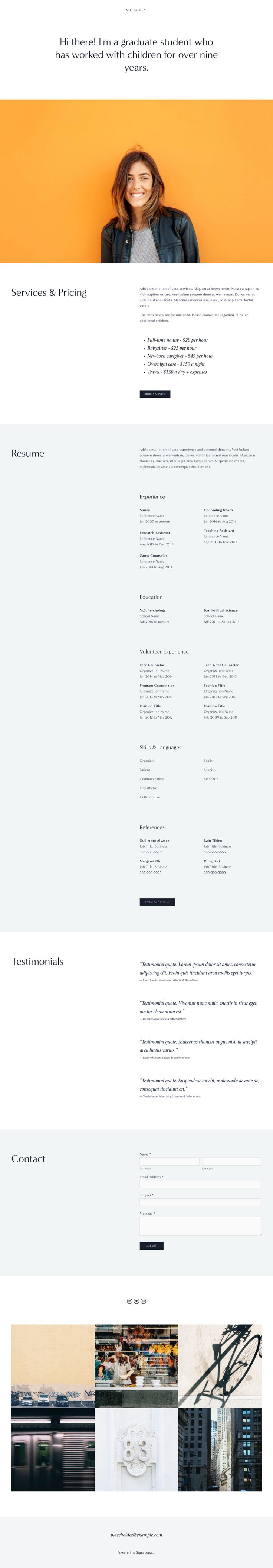 39 sofia 39 is a one page personal template by squarespace. Black Bedroom Furniture Sets. Home Design Ideas