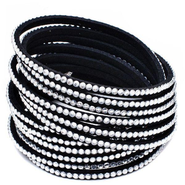 Seville Austrian Crystal Vegan Leather Wrap Bracelet ($7.90) ❤ liked on Polyvore featuring jewelry, bracelets, accessories, black, black bangles, black jewelry, faux leather bracelet, vegan jewelry and bracelet bangle