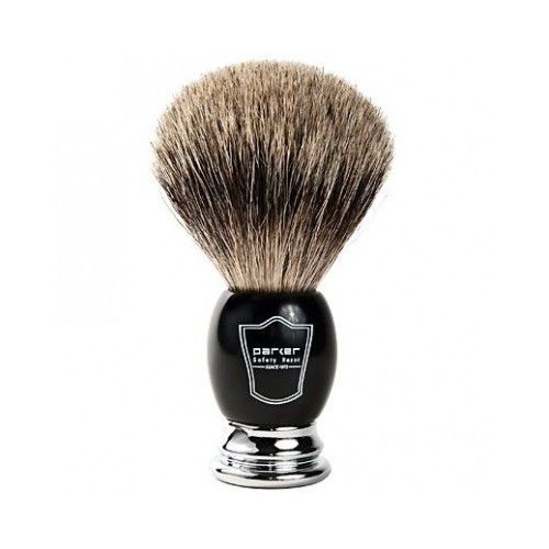 SHAVING BRUSH with Black Deluxe Handle & Free Stand - Parker Safety Razor