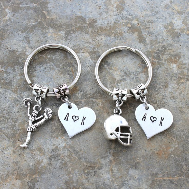 Cheerleader & Football Player Gift, Personalized Couples Keychain Set, Girlfriend Boyfriend Gift, Anniversary Gift For High School Couple