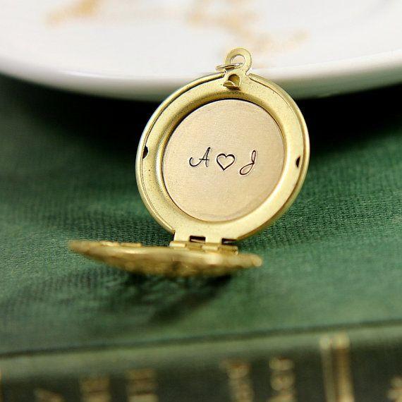 Initial Locket Necklace, Initials Locket Necklace, Personalized Locket Pendant, Locket Necklace,Gold Brass Locket Necklace, Valentines gift