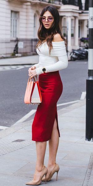 d1da968bc37 Cherry red midi skirts   midi skirts   Midi skirt, Off shoulder tops, Skirts