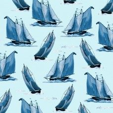 """Ткань Парусники светло-бирюзовые из коллекции """"Sail Away"""" от Quilting Treasures"""