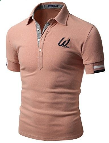 Doublju Men Casual Slim Fit 100 percent Cotton Polo T-shirt INDIPINK,L  Go to the website to read more description.