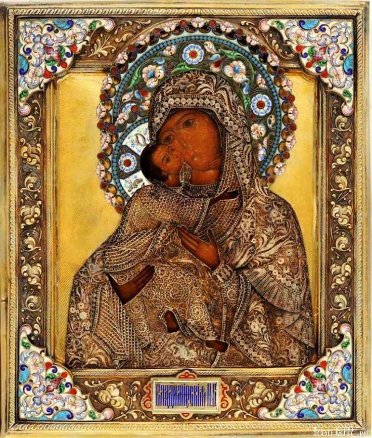 Владимирская икона Божией Матери.1800г., оклад изготовлен первой московской артелью в 1908 г