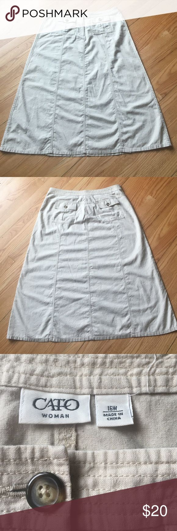Cato long khaki skirt size 16W Beautiful khaki skirt. Button up pockets. No split. No flaws, just doesn't fit me anymore. Figure flattering A-line cut. Please comment with any questions! I have other skirts also and love to bundle! 📦💕 Cato Skirts A-Line or Full