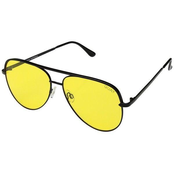 QUAY AUSTRALIA Sahara (Black/Yellow) Fashion Sunglasses ($65) ❤ liked on Polyvore featuring accessories, eyewear, sunglasses, oversized glasses, clear lens glasses, quay sunglasses, yellow lens sunglasses and flat lens sunglasses
