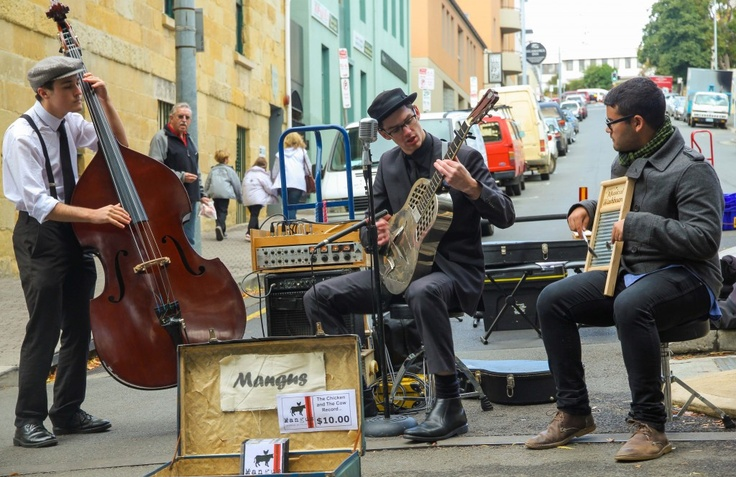 Street musicians at the Salamanca Markets in Hobart Tasmania