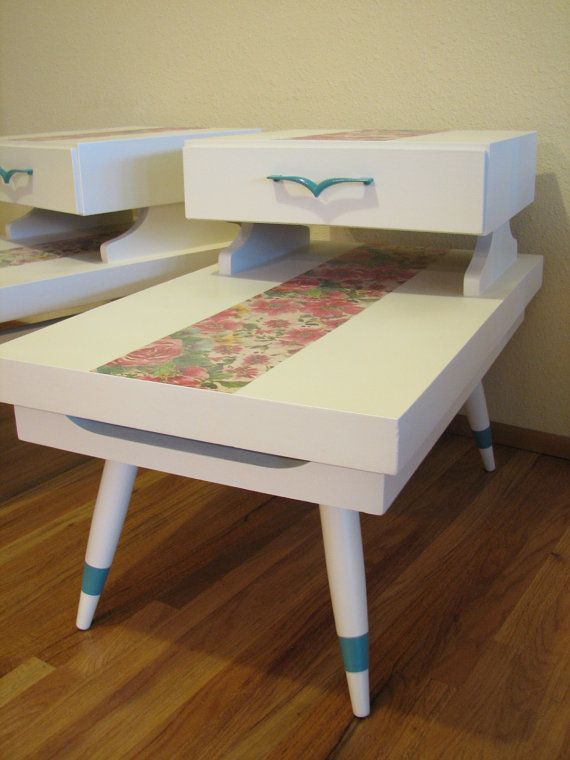 Upcycled Retro Two Tier, One Drawer, Floral Side Table Set