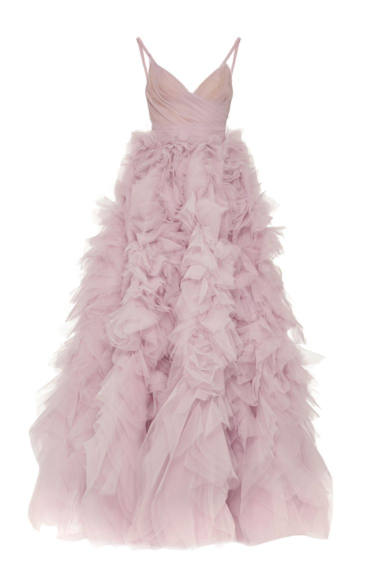 Monique Lhuillier V-Neck Tiered Ball Gown