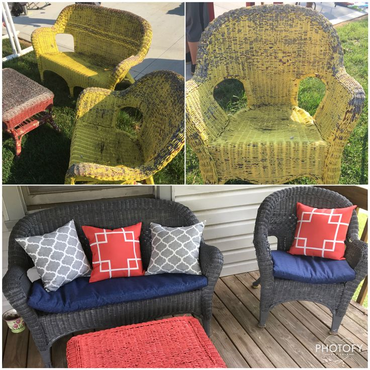 Spray Painted Wicker Furniture DIY Trash To Treasure Wicker Makeover Before  And After