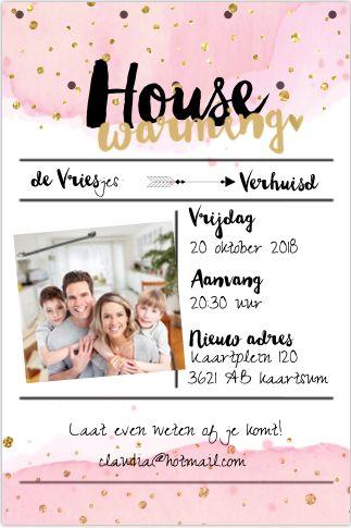 Housewarming geven? Super feestelijke enkele uitnodiging met goudkleurige confetti, ruimte voor een foto en watercolor-look. Geheel zelf aan te passen.