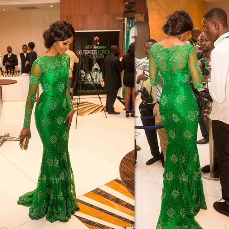 Jade Green African Prom Dresses 2016 Full Lace High Neck ...