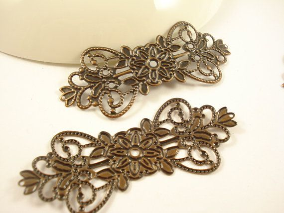 6pcs Antiqued Copper Long Filigree Base Connector by yooounique, $2.85