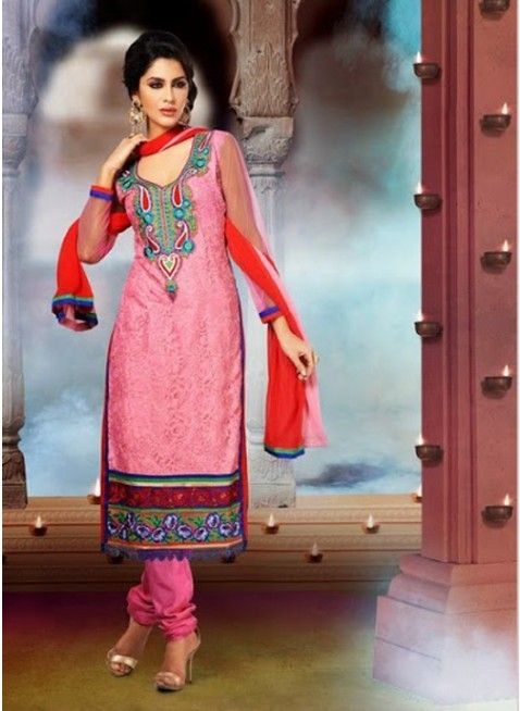 Elcoming Pink with orange georgette #pakistani_suit with decorated neck line