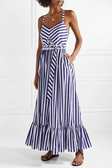 245ffe13a382 J.Crew - Ruffled Striped Cotton-poplin Maxi Dress - Royal blue  affiliate