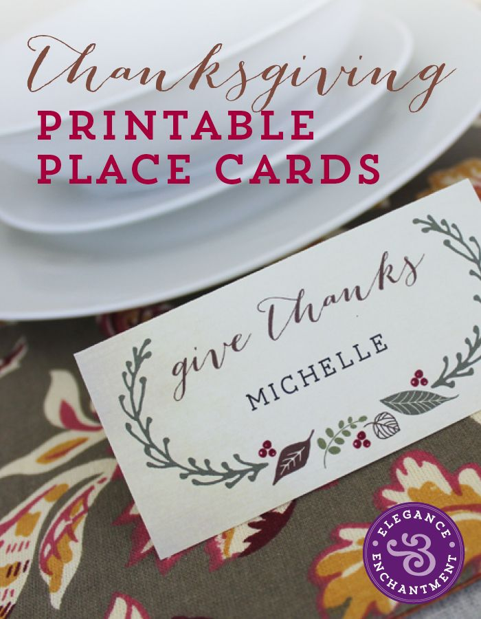 Free Printable - Thanksgiving Place Cards | Elegance & Enchantment