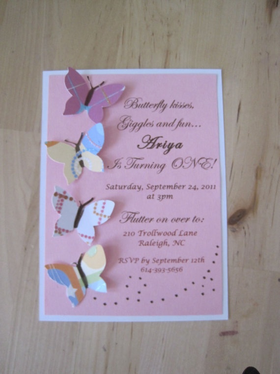 Butterfly Invitation Cards birthday baby shower bridal by cardsanu, $18.00